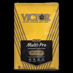 Victor Classic Multi-Pro Dry Dog Food. Yellow and black dog food bag.