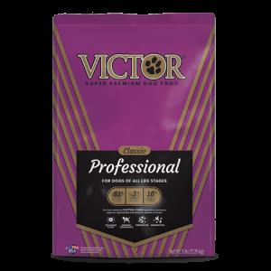 Victor Classic Professional Dry Dog Food. Purple dog food bag.