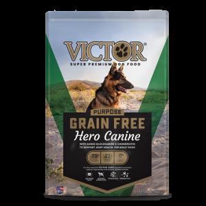 Victor Grain Free Hero Dry Dog Food. Green dog food bag. German Shepherd dog.