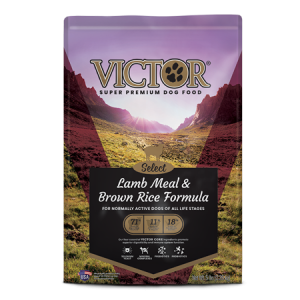 Victor Lamb Meal Brown Rice Dry Dog. Purple dog food bag. Nature scene.