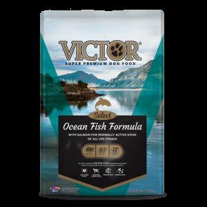 Victor Ocean Fish Formula Salmon Dry Dog Food. Blue dog food bag.