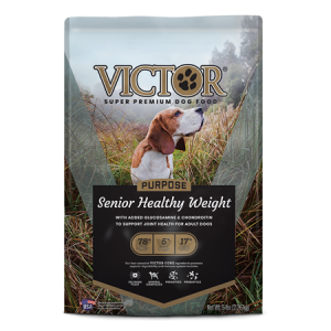 Victor Senior Healthy Weight Dry Dog Food. Dog food bag. Features adult sporting dog.
